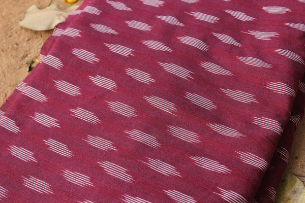 Wine Colour Ikat Cotton Fabric TCB-BP5-P1
