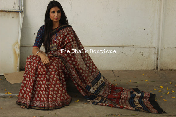 | Geeli Mitti | - Red Hand Block printed Chanderi Saree.