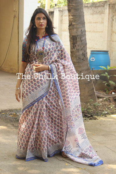 | Khushi | - White Hand Block printed Chanderi Saree.