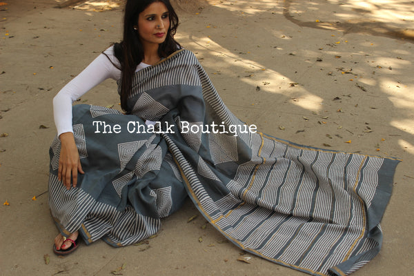 Grey chanderi hand block printed saree With Zari border.SHB-CHN8-C4