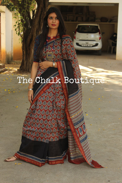 | Yaadein | - Red Hand Block printed Chanderi Saree.