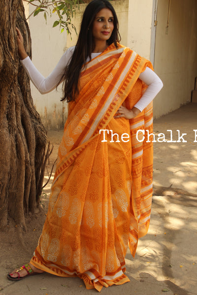 Deep Mustard chanderi hand block printed saree With Zari border.SHB-CHN10-C4