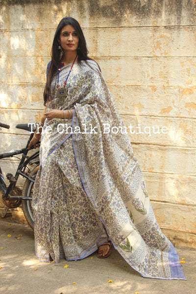 | Roohi | - White Hand Block printed Chanderi Saree.