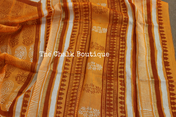 Deep Mustard chanderi hand block printed saree With Zari border.SHB-CHN10-C4-The Chalk Boutique