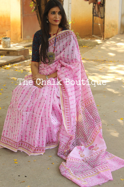| Gulabo | - Pink Hand Block printed Chanderi Saree.