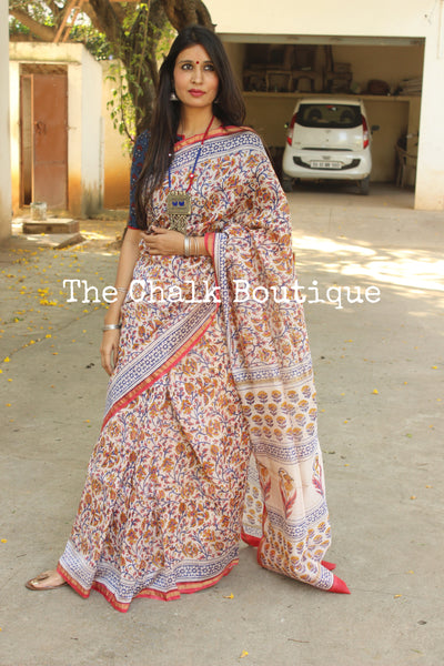 | Rang | - Hand Block printed Chanderi Saree.