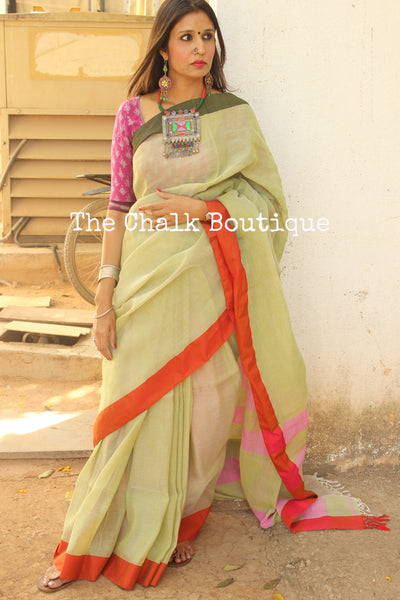 Pista Green Khadi cotton saree with ganga jamuna border. NF-LK-C3