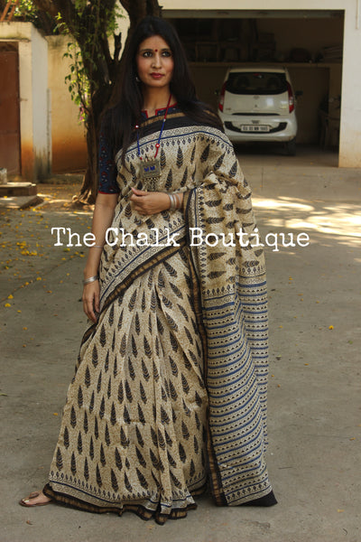 | Mallige | - Hand Block printed Chanderi Saree.