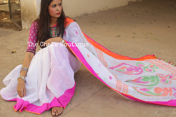 White Handwoven Linen Saree with ganga jamuna border & jamdani butis . NF-LM2-C3-The Chalk Boutique