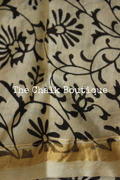 | Mallige | - Hand Block printed Chanderi Saree.-The Chalk Boutique