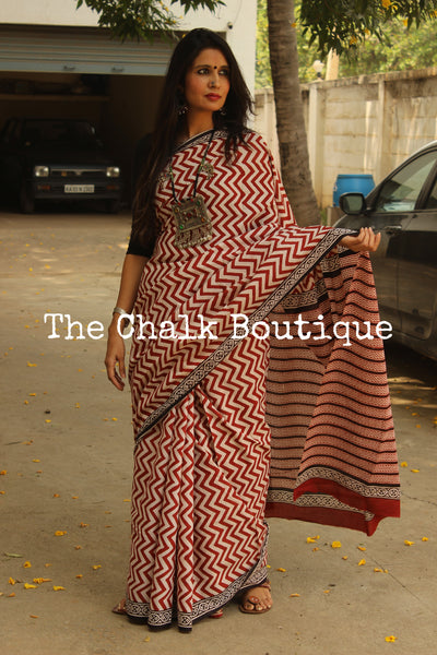 Zigzag Bagru Hand Block Print Mul cotton saree TCB-COT1-KT2-The Chalk Boutique