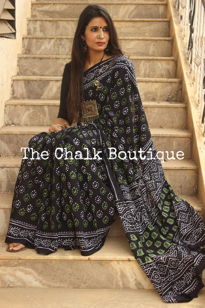 Black Bagru Hand Block Print Mul cotton saree.