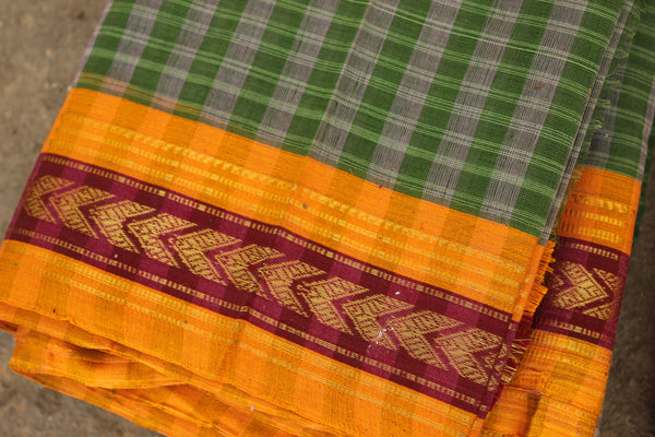 Maharashtra cotton checked saree. TCB-MH4-P9