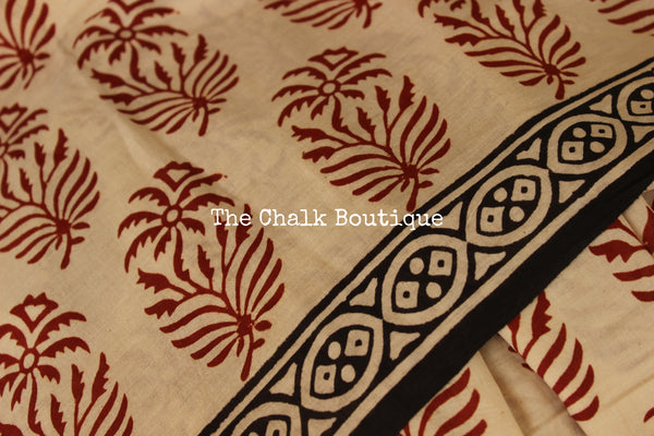 Off White Bagru Hand Block Print Mul Cotton saree.