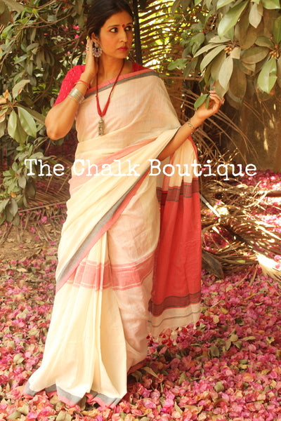 Off White Cotton Saree with Red Border NF-KM2-C4-The Chalk Boutique