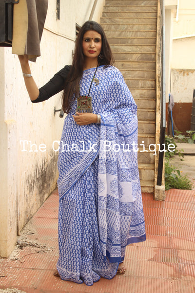 Blue Bagru Hand Block Print Mul Cotton saree.