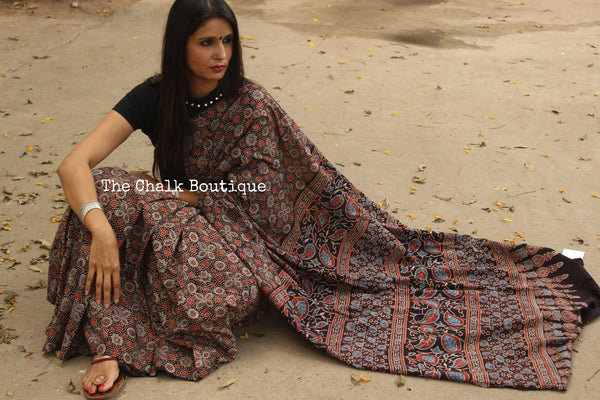 Black Handwoven vegetable dyed Ajrakh mul cotton saree . KCH-AJR4-C8