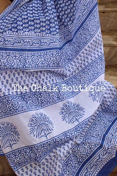 Blue Bagru Hand Block Print Mul Cotton saree.-The Chalk Boutique
