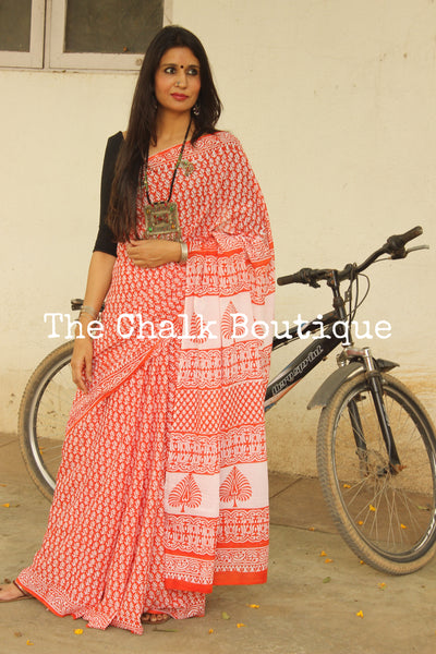 Reddish-Orange Bagru Hand Block Print Mul Cotton saree.-The Chalk Boutique