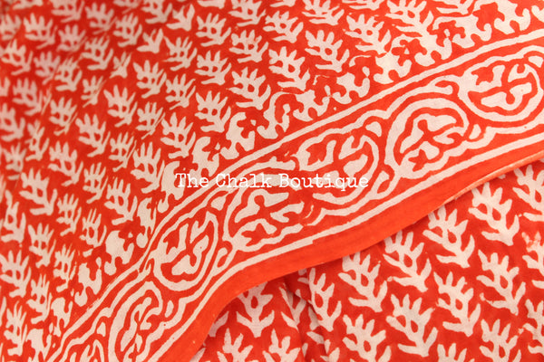 Reddish-Orange Bagru Hand Block Print Mul Cotton saree.