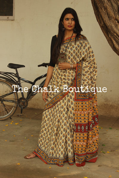 Beige Bagru Hand Block Print Mul Cotton saree.