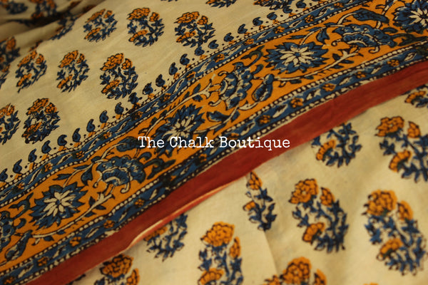 Beige Bagru Hand Block Print Mul Cotton saree.-The Chalk Boutique