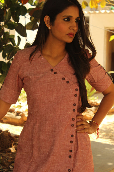 Blush and Grey Wrap Handloom Cotton Dress with Ikat Border.DRS0274