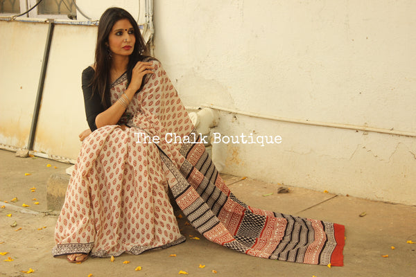 Off White and Red Bagru Hand Block Print Mul Cotton saree.