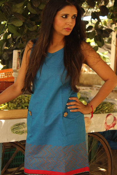 Blue Shift Dress in South Cotton with Applique Border..DRS0252-The Chalk Boutique