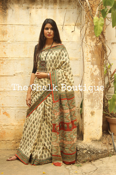 Beige and Green Bagru Hand Block Print Mul Cotton saree.