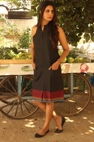 Black Halter Neck Handloom Cotton Dress with Woven Border. DRS0312