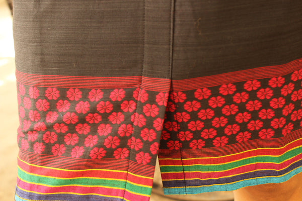 Black HalterNeck Handloom Cotton Dress with Woven Border. DRS0312
