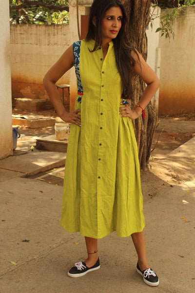 Light Green Ankle Length Maxi Dress with Indigo. DRS0310-The Chalk Boutique