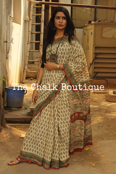 Beige, Red and Green Bagru Hand Block Print Mul Cotton saree.-The Chalk Boutique