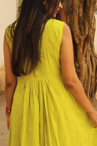 Light Green Ankle Length Maxi Dress with Indigo. DRS0310