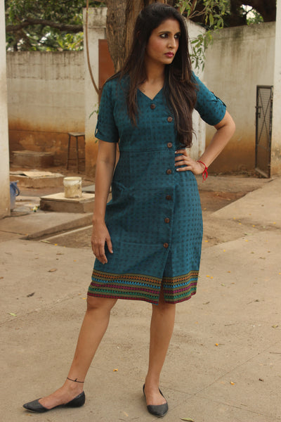 Blue Wrap Handloom Cotton Dress with Woven Border. DRS0313-The Chalk Boutique