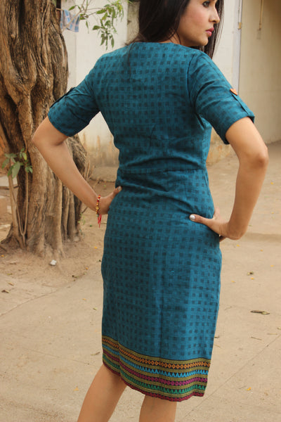 Blue Wrap Handloom Cotton Dress with Woven Border. DRS0313