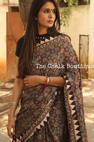 Black Modal silk vegetable dyed Ajrakh saree. KCH-MOD4-C8-The Chalk Boutique