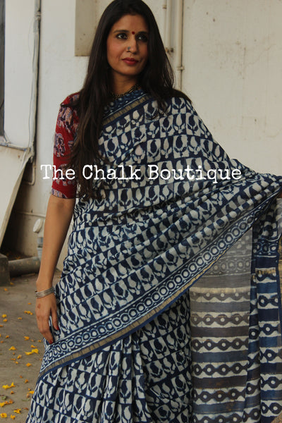 | Neel Jaal |- Indigo Hand Block printed Chanderi Saree.-The Chalk Boutique