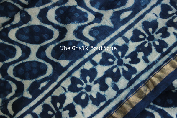 | Neela Aasmaan |- Indigo Hand Block printed Chanderi Saree.TCB-CH24-RB2-The Chalk Boutique