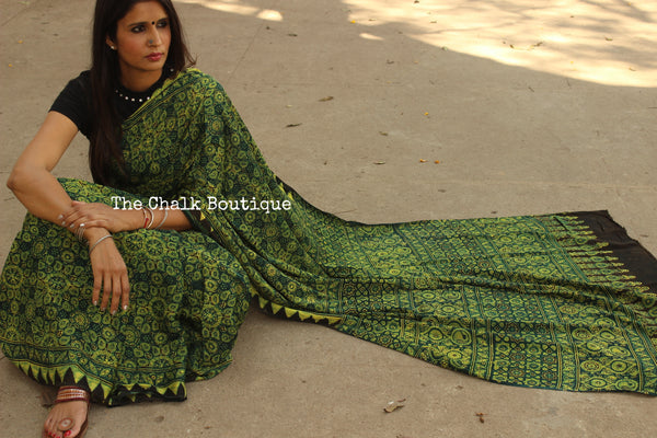 Green Modal silk vegetable dyed Ajrakh saree. KCH-MOD6-C8