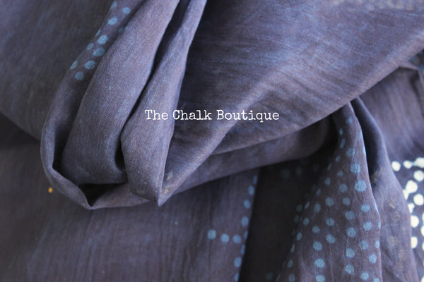 | Neel Panchi |- Indigo Hand Block printed Chanderi Saree.-The Chalk Boutique