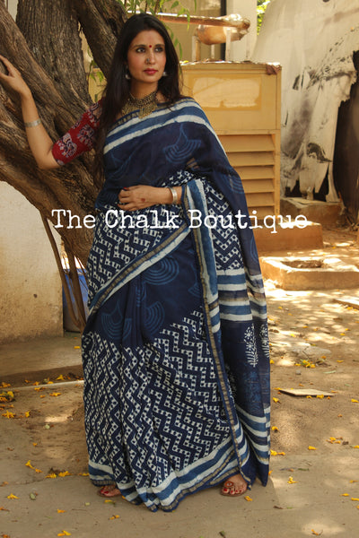 | Neel Mahal |- Indigo Hand Block printed Chanderi Saree.-The Chalk Boutique