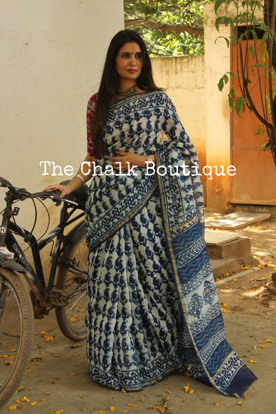 | Neele Phool |-  Indigo Hand Block printed Chanderi Saree.