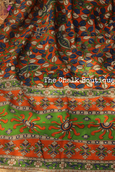 Orange Hand block Print Kalamkari Cotton Silk Dupatta.TCB-SDUP4-P10
