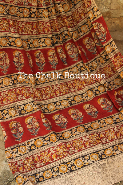 Beige and Red Overall soft cotton kalamkari saree with thin border. TCB-OKAL1-P21