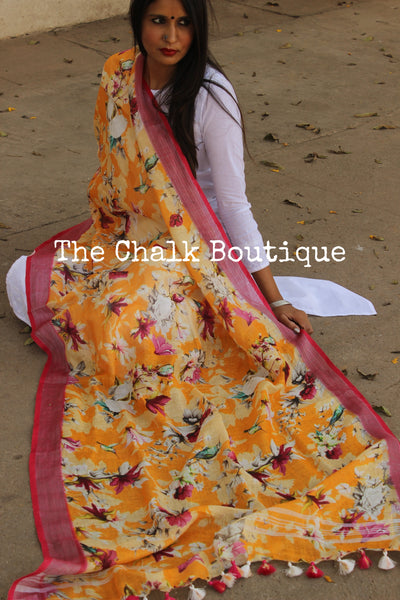 Yellow Floral linen digital print dupatta with tassels. TCB-LDUP1-C3