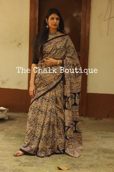 Beige and Black Overall soft cotton kalamkari saree with thin border.