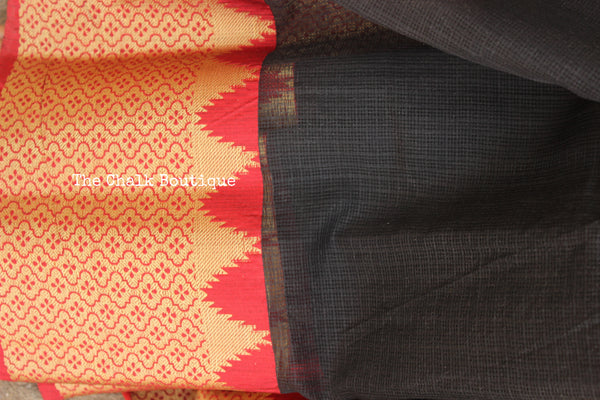 Traditional Black and Red Pure Kota Cotton Silk Saree. TCB-KOTA6-C2