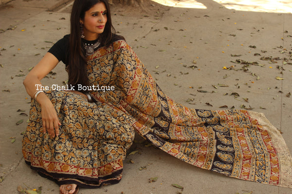 Black Overall cotton kalamkari saree with thin border. TCB-KAL13-P9